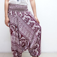 Art Elephant Thai  Harem Pants/ Hippie Pants/ Gypsy Aladdin Genie Pants/ Yoga Pants/ Wide Leg Pants (Scarlet)