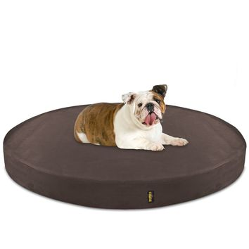 Dog Bed Round Deluxe Orthopedic Memory Foam Large - Brown