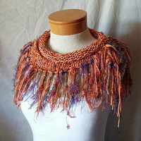 Fringe Triangle scarf Knit cotton cowl neck Light weight triangle shawl Tangerine orange With confetti colors Spring fashion accessory