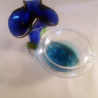 Single User Ashtray with Cobalt Blue Flower on Pedestal