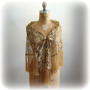 Black and Gold Lace Wrap with Fringe Metallic Flapper Style Shawl Hip Scarf