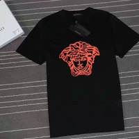 VERSACE print summer short sleeve cotton T-shirt top H-YF-MLBKS