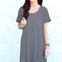 Feeling Fine Striped Dress {Black}