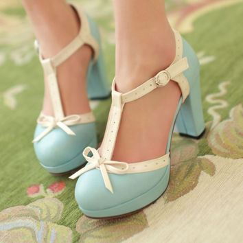 Cute thick high-heeled dermis sandals 6217YI