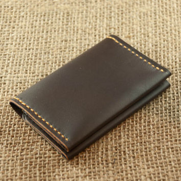 Mens Leather Wallet // Chocolate Brown Leather // Beautfiul Slim Design // Mens Womens Leather Wallets // Personalized Monogram