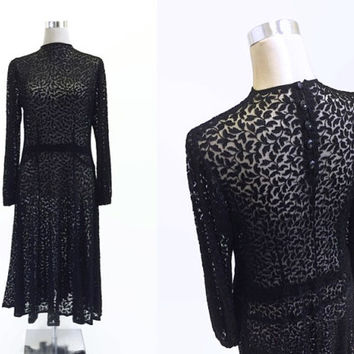 1930's Dress - Thirties' Black Lace Dress - 30s 40s - 1930's Evening Dress - Vintage Little Black Dress LBD