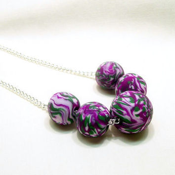 Green Purple and White Modern Beaded Necklace / Polymer Clay Jewelry