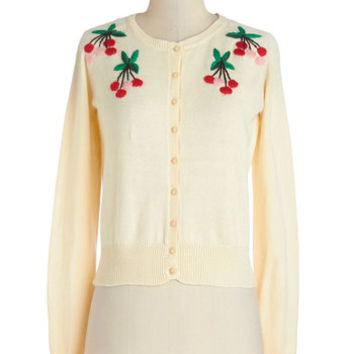 ModCloth Vintage Inspired Short Long Sleeve Cherries and Cappuccino Cardigan