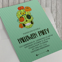 Printable Halloween Party Invitation, Dia De Los Muertos, Sugar Skull, Day of the Dead, Halloween Party, 5x7 Inch, Birthday Party Option