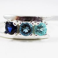 London Blue Topaz, Apatite, and Sapphire Ring Sterling Silver, Mother's Ring, Sterling Silver Mother's Ring, Three Stone Ring, 925 Ring