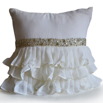 Decorative Throw Pillow Cover -Ruffle, Toss, Accent Pillow -Ivory Crystal Rhinestone Ruffled Pillow -Gift -Wedding -Anniversary -Dorm