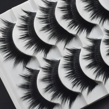 5 Pairs Thick False eyelashes High-quality Fiber Natural Lashes Black Terrier Eyelashes Fashion Makeup Eyelashes Make-up 002