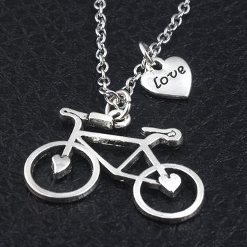 2017 new Fashion jewelry Biker Bicycle heart love Necklace pendant series accessories best gifts