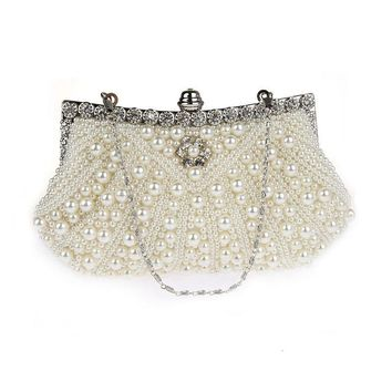2017 Women Crystal Evening Clutch Bag Rhinestone Wedding Purse Party Handbag Lady clutches Diamond Pearl Beads Female Chains Bag
