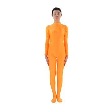 Adult Lycra Spandex Zentai Turtleneck Full Body suit Unitard Women Long Sleeve Zentai Orange Women Catsuit Dancewear