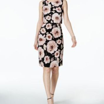$138 New Ivanka Trump Women's Sleeveless Blush Floral Pop-Over Scuba Tunic Dress 14