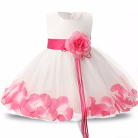 New Petal Pattern First Birthday Baby Clothes Dress For Party Christening Tulle Baby Vestido Clothes Wedding Bridesmaid Dresses