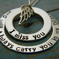 I Miss You And Always Will, Sterling Silver Custom Made Personalized My Angel Remembrance Memorial Keepsake Mommy Name Necklace Angel Wings