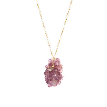 Amethyst crystal necklace - amethyst cluster - stalactite - a natural amethyst crystal cluster wire wrapped onto a 14k gold filled chain