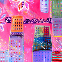 "Original Cityscape Painting, Abstract Modern Urban Art on Canvas ""Spring Rain"""