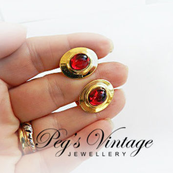 Fabulous Vintage Cuff Links Red Cabochon Glass//Gold Tone 1950s Costume Jewelry Accessory