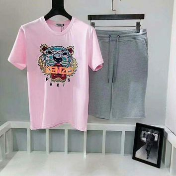 Kalete Kenzo Pink Tiger head round t+ grey letter Embroidery Shorts Set 66064