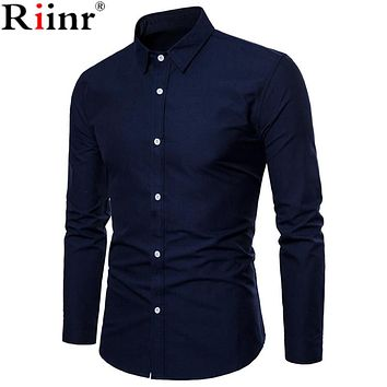 Spring Polka and Solid Man Casual Shirts Classic Men Dress Shirt Long Sleeve High Quality Fashion Clothes For Male