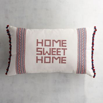 Home Sweet Home Stitched Throw Pillow