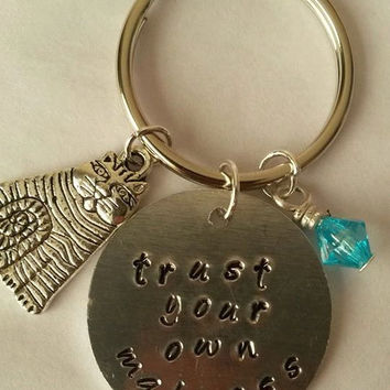 Alice in wonderland themed keyring/keychain