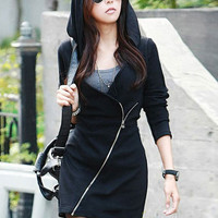 Black V-neck Long Sleeve Oblique Zipper Hooded Mini Dress
