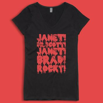 Rocky Horror Picture Show Janet Brad Dr Scott Frank N Furter Horror Musical Movie Women'S V Neck
