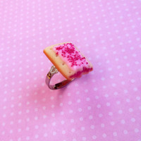 polymer clay cherry pop tart ring