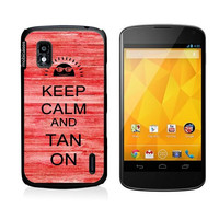 Keep Calm And Tan On Red Wood Google Nexus 4 Case - For Nexus 4