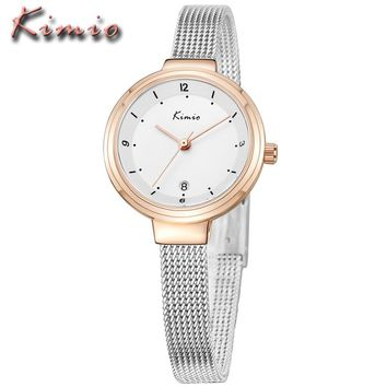 Relojes Mujer 2017 KIMIO Ladies Watches Top Brand Luxury Women Dress Business Mesh Belt Bracelet Quartz Watch Relogio Feminino
