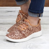 Sequin Glitter Sneakers {Rose Gold}