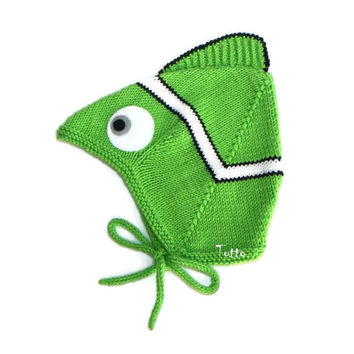 Baby hat spring hand knitted toddler hat baby pilot hat newborn hat green fish baby hat Ready to ship