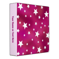 Pink and White Stars Binder