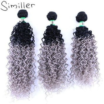 ESB1ON Similler 210g Ladies Black Grey Ombre Hair Extensions Synthetic Hair Weaving Bundle Curly Weft