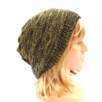 knitted wool  beanie, knit colorful brown yellow hat, knitting women accessories, men cap, lace hat, multicolor head dress, tam, beanie hat