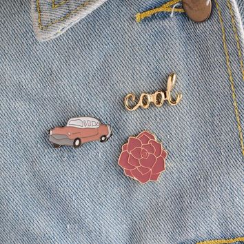 Trendy 3pcs/set Vintage cool Classic Car Rose Flower Brooch Button Pins Denim Jacket Pin Badge for Bags Cartoon Fashion Jewelry Gift AT_94_13