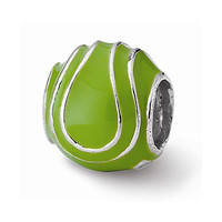Sterling Silver s Enameled Tennis Ball Bead by Reflection Beads