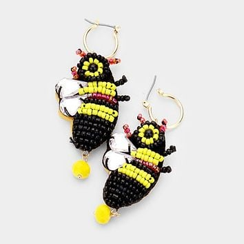 Beaded Crystal Honey Bee Fashion Earrings