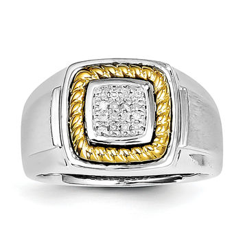 Sterling Silver Rhodium & Yellow Gold Diam. Square Men's Ring