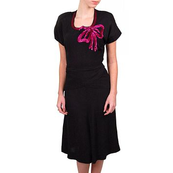 Vintage Black Rayon Dress W/Fuchsia Sequin Bow 1940'S