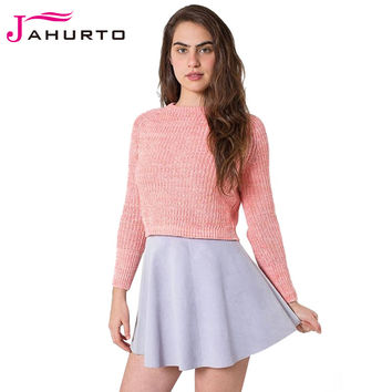 Jahurto Knitted Ribbed Sweater Autumn Winter 2016 Crewneck Long Sleeve Cropped Pullover Woolen Fringe Luxury Women Sweaters