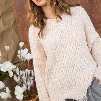 Round Neck Long Sleeve Frayed Sweater - Cream Pink ONLY 1 LARGE LEFT