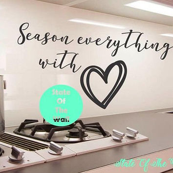 Season everything with Love Wall Decal Sticker Art Decor Bedroom Design Mural home decor Kitchen Decor Modern