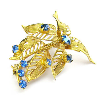 Brooch Blue Rhinestone Fall Leaves