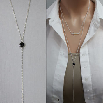 Black Onyx Layering Necklace on Sterling Silver, Sterling Silver Layering Necklace, Black Onyx Necklace