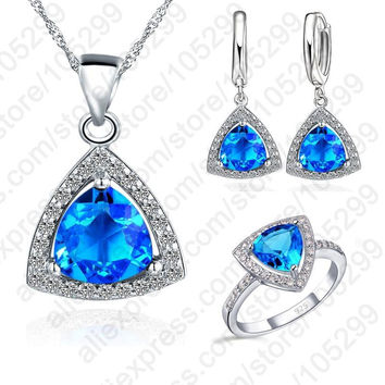 PATICO Blue Jewelry Sets Fat Triangle Cubic Zirconia Stone 925 Sterling Silver Earrings Pendant Necklaces Finger Rings US6-9